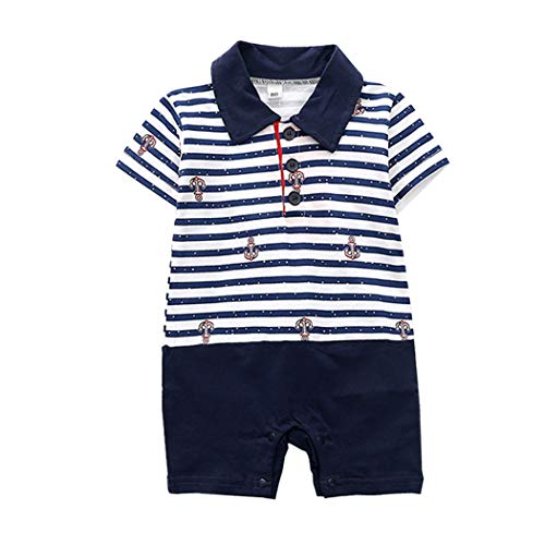 Fairy Baby Kleinkind Jungen Kurze Ärmel Polo Hemd Stripe Romper Matrosen-Outfit Size 90(12-18 Monate) (Navy)