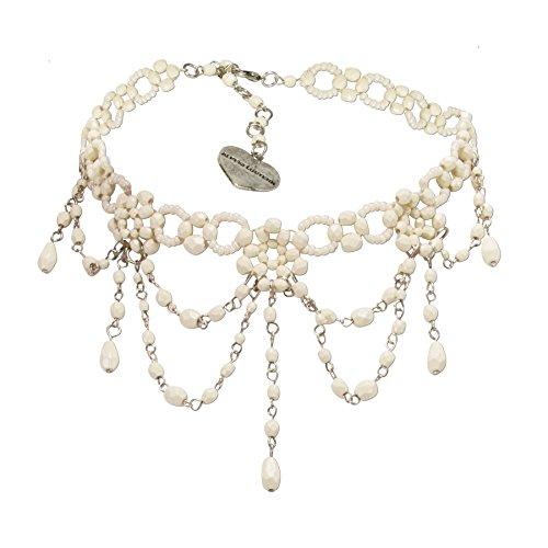 Alpenflüstern Trachten-Perlen-Kropfkette Elise - Trachtenkette Damen-Trachtenschmuck Dirndlkette creme DHK089