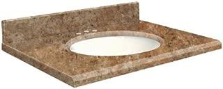 Samson G4919-G1-E-W-8C Granite Vanity Top 49x19 with Single Undermount White Bowl 8-Inch Offset Beveled Edge India Gold