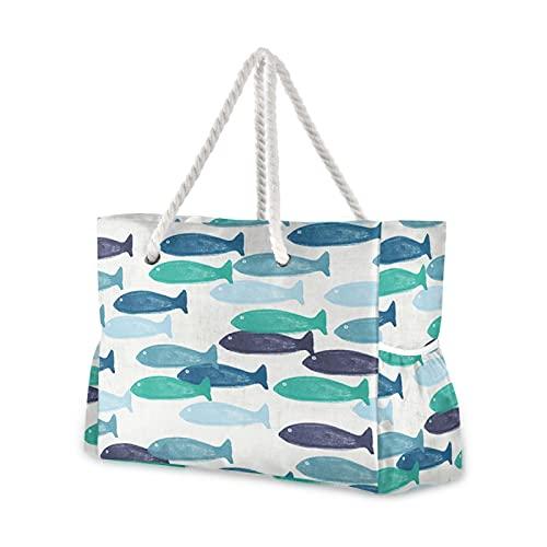 Bolsa de playa Ocean Fish- Bolsa de mano para piscina, asa de...