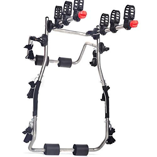 Portabicicletas,Bastidor Trasero Plegable de Acero Inoxidable para Bicicletas para Maletero SedáN SUV,Se Pueden Colgar 3 Bicicletas/Plata/A