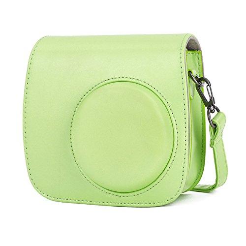 Leebotree Tasche Kompatibel mit Instax Mini 9 / Mini 8 8+ Sofortbildkamera aus Weichem Kunstleder mit Schulterriemen und Tasche (Lime Grün)