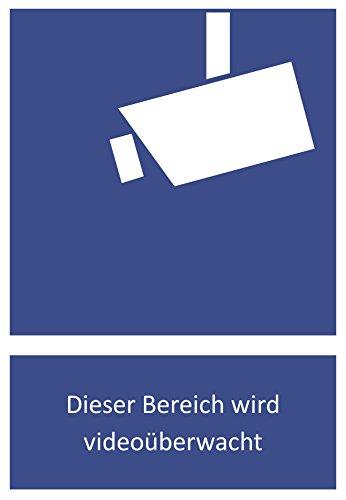 6 Aufkleber Videoüberwachung mit Piktogramm Schild in Größe 10,5 x 14,8 cm, Dieser Bereich Wird videoüberwacht robuster Warnhinweis mit hoher Klebewirkung