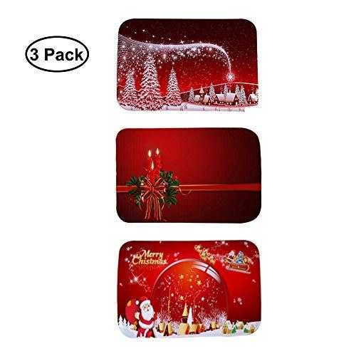 Fellibay - Felpudo de Navidad (3 Unidades, 40 x 60 cm), Franela, Rojo, 15.75 x 23.62in