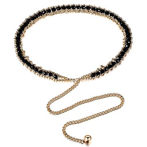 Coucoland Cintura da donna in oro e argento con glitter per abito da donna, 1-schwarzgold, Taglia unica