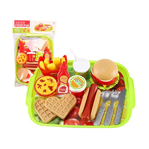 LederleiterUSA Pretend Play Fast Food Set, Play Food for Kids Kitchen Play Kitchen Accessories Toy Foods with Play Hamburger and Hot Dog Plastic Food for Pretend Play, Cooking Play Set for Kids
