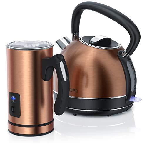 Arendo – Set di Bollitore e Montalatte in acciaio inox in design rame – Bollitore 2200 W con filtro anti calcare - 1,7 litri – Montalatte scalda mescola e monta – Set elettrodomestici per la cucina