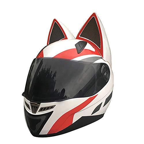 Sunzy Frauen Motorradhelm, Erwachsene Persönlichkeit Vier Jahreszeiten universal weißen Flip Integralhelm mit Katzenohren Dekoration abnehmbar,XL