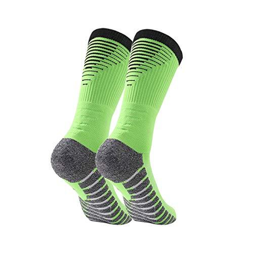 Manbozix Calcetines de Hombre Calcetines Deportivos Transpirables Calcetines de Fútbol Calcetines Deportivos Antideslizantes Unisex 38-45, Control de Humedad, Verde