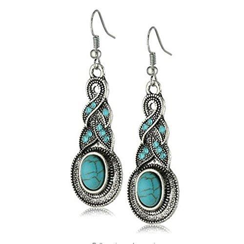 Pendientes largos étnicos Yazilind de plata tibetana, con gota colgante de cristal turquesa rimosa