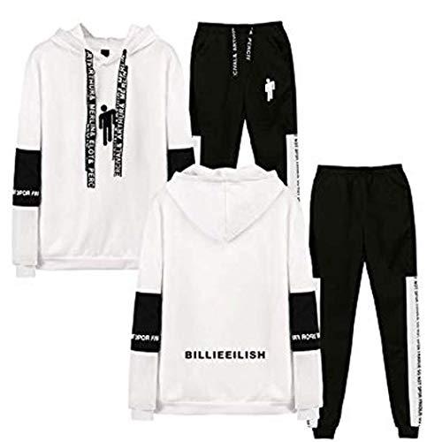 Flyself Unisexe Billie Eilish Survêtement 2PCS Bellyache Sweat à Capuche + Pantalons Mode Hoodies Pantalons Ensemble Causual Hip Hop Tops Sports Suit pour Fans