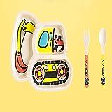 Set de Vajilla para Niños Platos para bebés Conjunto de vajillas Dibujos animados de niños Alimentación de cuenco Plato Niños Niños Natural Bambú Fibra Tailware con Tenedor Cuchara Placa 3pcs Regalo p