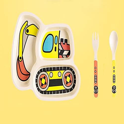 ChengBeautiful Vajilla para Niños Platos para bebés Conjunto de vajillas Dibujos Animados de niños Alimentación de Cuenco Plato Niños Niños Natural Bambú Fibra Tailware con Tenedor Cuchara Placa 3pcs