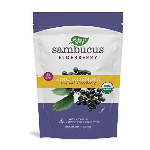 Nature's Way Organic Sambucus Lozenge, Elderberry and Zinc, 24 count pouch (Packaging May Vary)