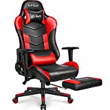 N-GEN Gaming Chair Computer Ergonomic Office Adjustable Lumbar Support Racing Style High Back Desk Headrest Swivel Executive E-Sports Video Game PC Leather Height Reclining with Footrest (2. Red)