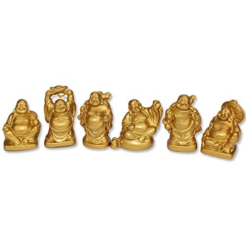 We pay your sales tax Set of 6 Feng Shui 2' Gold Happy Laughing Buddha Statues Figurines Gift
