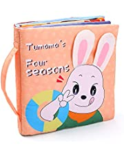 Anself 3D Cloth Book Soft Books Seasons Change Touch & Feel Shape Color Sensory Book Educational Activity Toys Gifts for Baby Infants Toddlers Boys Girls