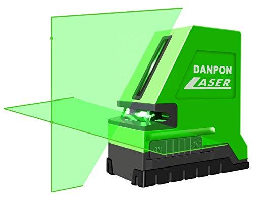 Danponレーザー墨出し器 グリーン 2ライン 水平ライン1本(出射角は180°以上)垂直ライン1本 クロスライン 水平ポイント、垂直ポイント付き 自動補正 傾斜アラーム 18650型充電池、充電器付き 高輝度 屋内外対応 非球面ガラスレンズ採用 VH-