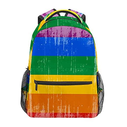 School Backpack Vintage Gay Pride Flag Student Travel Hiking Camping Daypack Casual Book Bags Shoulder Bag