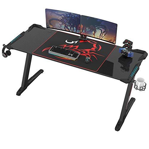EUREKA ERGONOMIC Gaming Tisch Groß Z60 Gamer Tisch mit LED RGB Beleuchtung Gaming Schreibtisch Gaming Computertisch PC Schreibtisch Gamer 153* 68.5 CM Schwarz