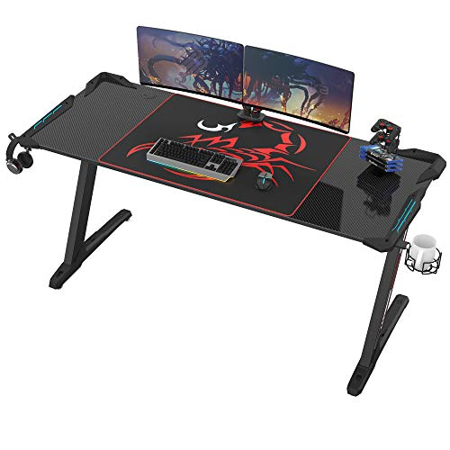 EUREKA ERGONOMIC Z60 Gaming Desk 60 inch Computer Desk Z Shaped Large PC Tables with RGB LED Lights Mouse Pad for E-Sport Racing Gamer Pro Home Office Gift