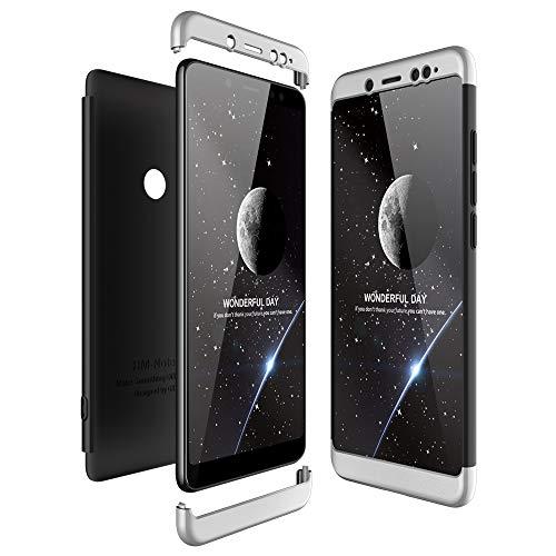 JMGoodstore Funda Compatible Xiaomi Redmi Note 5 Pro,Carcasa Redmi Note 5 Pro,360 Grados Integral Ambas Caras+Cristal Templado,3 in 1 Slim Dactilares Protectora Skin Caso Cover Plata+Negro