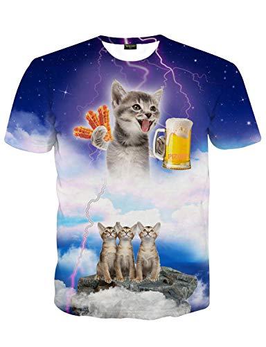 PIZOFF Unisex Print Schmale Passform T Shirts mit Karikatur Katze 3D Druckmuster, 01120015x62, XXL