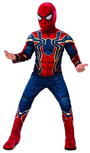 24costumes Spiderman Kostüm | 2-teilig: Overall mit Muskeln aus Schaumstoff & Maske mit extra langem Kragen | Kinder & Jugendliche: Größe: L (122-128)