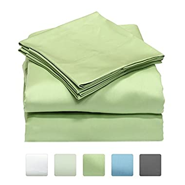 600 Thread Count 100% Long Staple Cotton Sheet Set, Soft & Silky Sateen Weave, Queen Bed Sheets, Elastic Deep Pocket, Hotel Collection, Wrinkle Free, Luxury Bedding, 4 Piece Set, Queen - Sage