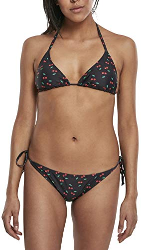 Urban Classics Ladies Pattern Bikini, Negro (Cherry/Blk 02063), 90B (Talla del Fabricante: Medium) para Mujer