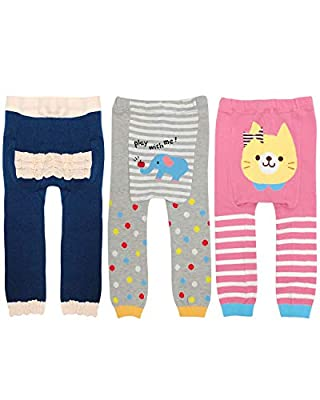 Wrapables Baby & Toddler Fun for All Leggings (Set of 3), Animals & Ruffles