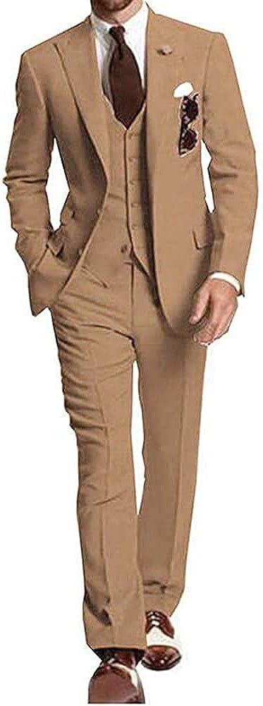 Furuyal Casual Men's 3 Pieces Suit Groomsmen Wedding Tuxedoes Jacket Pants Set Business Suit