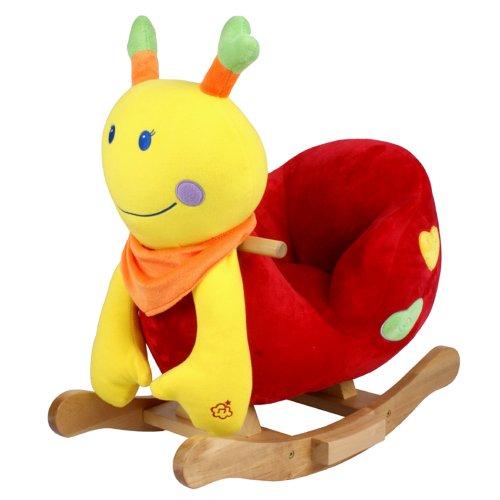 STODOMED Schaukelpferd Schaukeltier Schaukelspielzeug mit Rückenlehne Wippe aus weichem Plüsch Baby Kuscheltier