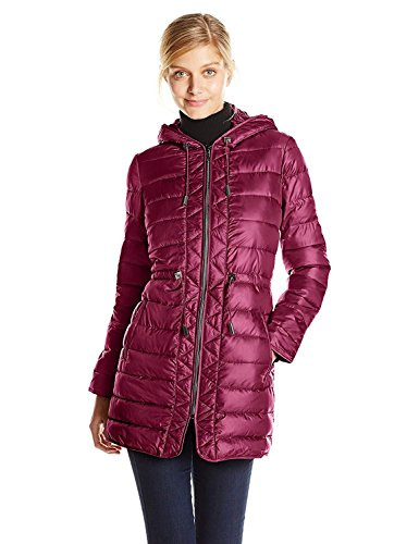 Kenneth Cole Women's Hooded Packable Puffer Coat with Cinch Waist