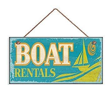 Carteles de 13 x 25 cm para alquiler de barcos, divertidas playas, casas de playa y lago, pintadas a mano, de madera divertida con citas para el hogar