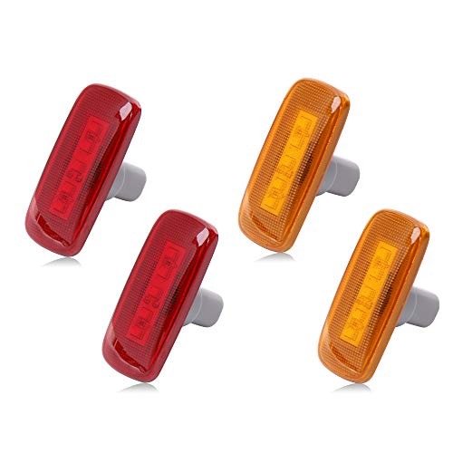 Rear Bed Side Marker LED Fender Lights for 2003-2009 Dodge and 2011-2016 Ram Dually Truck Double Wheel Side Fenders Aftermarket Replacement, Full kit, Clear (2x Amber + 2x Red) OE# 55077458AA 264131