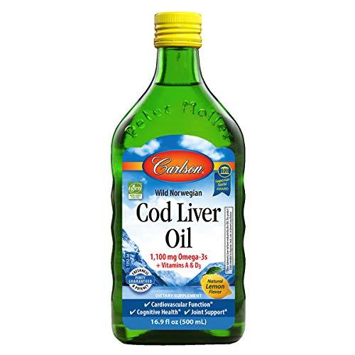 fish liver oils Carlson - Cod Liver Oil, 1100 mg Omega-3s, Liquid Fish Oil Supplement, Wild-Caught Norwegian Arctic Cod-Liver Oil, Sustainably Sourced Nordic Fish Oil Liquid, Lemon, 500 ml