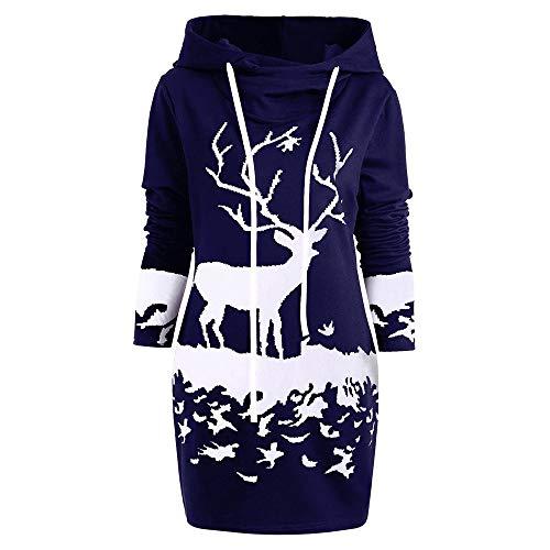 VEMOW Weihnachten Mini Pullover Kleid Damen Frauen Casual Daily Party Freizeit Kordelzug Monochrom Rentier Gedruckt Kapuzenkleid(X1-Marine, 44 DE / 2XL CN)