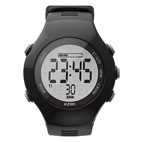 Dynamischer optischer Herzfrequenzmesser Digitale Sportarmbanduhr mit Schrittzähler Kalorienzähler Stoppuhr EZON T043