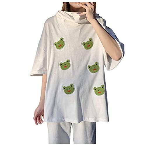 Janly Clearance Sale Camiseta para mujer, blusa con estampado de dibujos animados con cremallera y capucha, manga corta para vacaciones de verano