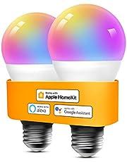 Refoss Smart wifi-gloeilamp ondersteunt Homekit, dimbare meerkleurige ledlamp, compatibel met Alexa, Google Assitant, 9 W E27 2700 K-6500 K, 2,4 GHz, 2 stuks