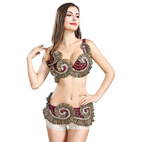 ROYAL SMEELA Flamenco Kostüm Bauchtanz BH Bauchtanz Gürtel Jahrgang Karneval Tanz Kleid Outfit Frauen Kleidung Sexy Tanzen BH Oberteil Gürtel Bund Set Damen