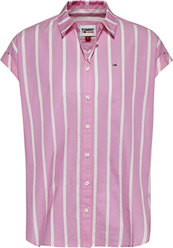 Tommy Jeans TJW Relaxed Stripe Shirt SS Chemise, Marguerite Rose/Blanc, XL Femme