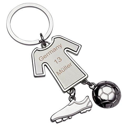 Schlüsselanhänger Trikot Gravur mit Fußballschuh und Fußball, Glücksbringer Fussballer mit Wunschverein, Name, Nummer Schulanfang