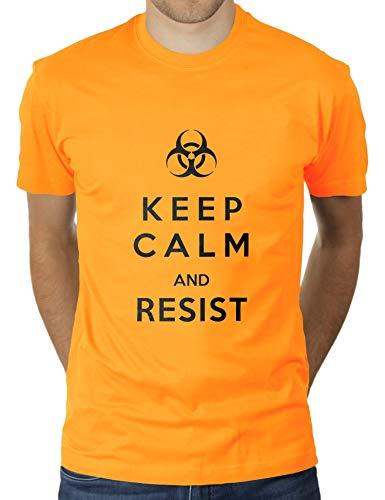 KaterLikoli Keep Calm and Resist Coronavirus CoVid-19 SARS-CoV-2 Corona Virus - Camiseta para hombre oro amarillo L