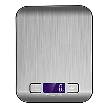 Ebot Digital Kitchen Scale Multifunction Food Scale, 11 lb 5 kg, Stainless Steel with Anti-fingerprint Technology (Batteries Included)