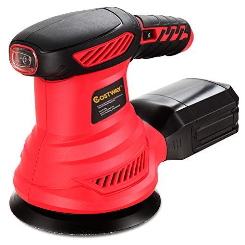 COSTWAY Exzenterschleifer Schleifmaschine mit 12 Schleifpapier / 6000-13000RPM / 300W / mit Staubabsaugung/Ideal für Heimwerkerarbeiten