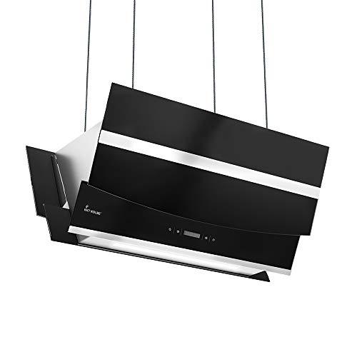 KKT KOLBE Cappa aspirante ad isola / 90 cm/acciaio inox/vetro nero/extra silenziosa/Smart App / 4 passi/illuminazione LED RGB/display/tasti sensore TouchSelect/HERMES-INSEL-907SM