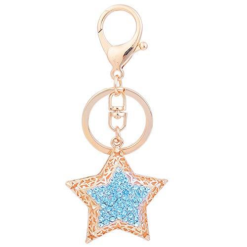 Reizteko Crystal Rhinestone Crystal Star Hollow Design Keychain Key ring key chain Charms women Car Trinket Female's gift key ring Key Holder key fob (SkyBlue)
