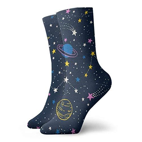 Vector modische lange Socken mit buntem Weltraummuster, weich, wärmend, 1 Paar für Damen und Herren, Sportsocken, 30 cm